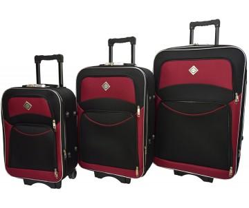 Набір валіз Style 3 штуки чорно – вишневий