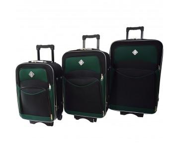 Набір валіз Style 3 штуки чорно – зелений