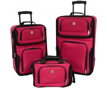 Набір валіз Best 2 шт і сумка вишневий